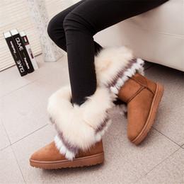 Mais quentes mulheres botas de inverno on-line-Pele De raposa Quente Outono Inverno Cunhas Neve Fox Mulheres Neve Austrália Botas Sapatos Genuinei Senhora Miquid ...