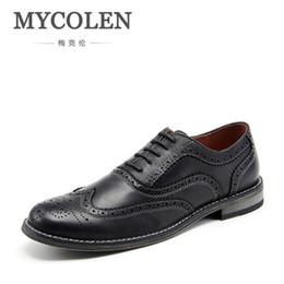 2019 gli stili dei pattini maschii MYCOLEN scarpe da uomo in pelle stile britannico comfort scarpe di alta qualità per uomo uomini business lace-up maschile sociale gli stili dei pattini maschii economici