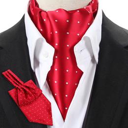 Canada LJ04 14 Couleurs Hommes Rouge Pourpre Noir Polka Dot Vintage Formel Cravate Cravate Ascot Cravate Gentleman Cravate De Soie Polyester Self Tied supplier red cravat ascot Offre