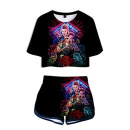 due donne di tuta Sconti Womens Two Piece Sets 2019 Stranger Things 2 pezzi Outfit per le donne Sweat Suit Two Piece Set Top e Shorts Ladies Tute