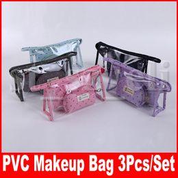 Большая прозрачная косметичка онлайн-ПВХ Корона Pattern косметичка косметички ясно большой емкости организатор путешествий сумка для туалетных принадлежностей 3 шт. Набор сумок