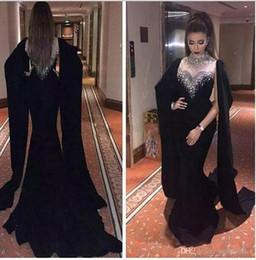 Mejor vestido largo de sirena negro online-Vestidos de noche de sirena negra árabe sexy Cuello alto Vestidos largos de baile Vestido de vaina Mejores vestidos formales de gala con envoltura 2019