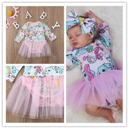 малыш в костюме единорога  Скидка Baby Girls Mesh Patchwork Dresses Spring Jumpsuits Romper Newborn Infant Clothes Skirts Toddler Boutique Outfits Unicorn Dresses 2020 E21903