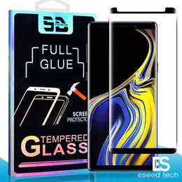 Protector de pantalla templado s6 online-3D Full GLUE Cobertura Huella digital Desbloqueo Funda amigable Vidrio templado para Samsung Note 10 S10 S9 S8 Plus S7 S6 Edge Curve Protector de pantalla