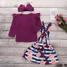 Langärmliges lila hemd online-Mädchen lila Blumenkleid zweiteilige Herbst Langarm-Shirt Baby Girl Designer-Kleidung Hosenträger Rock Casual Spielkleid