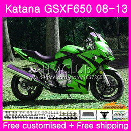 Carenados gsxf online-Kit para SUZUKI KATANA GSX650F GSXF 650 GSXF-650 08 09 10 11 12 13 14 14HM125 GSXF650 2008 2009 2010 2011 2013 2013 2014 Carenado Verde llamas