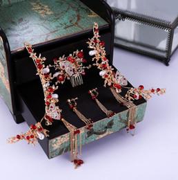 Joyería del pelo de la novia china online-Vintage Gold Red estilo chino antiguo conjunto de joyas de pelo perlas borla palos de pelo novia boda largos pendientes de gota