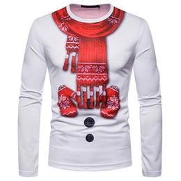 Guanto sottile online-Bianco 3D Christmas maglietta della donna degli uomini Sciarpa Guanti stampa Tee Shirt Homme Harajuku Hip Hop divertente Camisetas Slim Fit T superiori