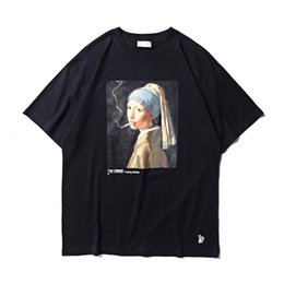 smoking girl painting Coupons - 19ss FXXKING Rabbits T Shirt No Smoking Girl Painting #FR2 Character Print T-shirt Men Women smoking Kills T Shirts Streetwear