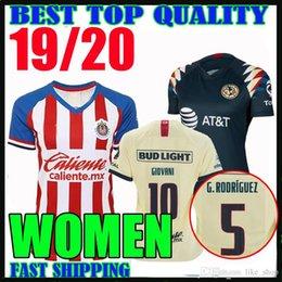 Camicie da donna online-2019 2020 MESSICO Club America DONNA Maglie calcio Home away 19 20 LIGA MX # 10 GIOVANI # 22 P.AGUILAR Chivas Ladys Maglie da calcio femminili