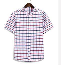 490cc13cd92 Quality Short Sleeve Dress Shirt Summer Men Plaid Print Casual Cotton  Oxford Mens Shirts Slim Fit Male Clothing Button Down Tops