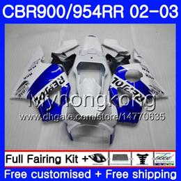 carenados para honda cbr 954 Rebajas Bodys Repsol azul blanco para HONDA CBR900RR CBR 954 RR CBR954RR 02 03 CBR900 RR 280HM.46 CBR 900RR CBR954 RR CBR 954RR 2002 2003 kit de carenado