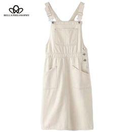 Saia em denim on-line-2019 Verão Branco Denim Saia Reta Suspender Do Vintage Saia Macacão Bolsos Laterais Casual Streetwear Wonder Store