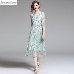 vestido verde fresco Desconto Malha bordada vestido feminino verão doce longo fresco verde Midi vestido