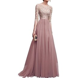 large ball party Promo Codes - New Elegant Full Sleeve Chiffon Lace Stitching Floor-length Women Party Prom Evening Long Dress Female Clothing Clothes large size S-3XL