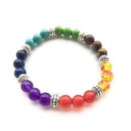 pietra blu della porcellana Sconti Nuovo modo unisex colorato Chakra di cristallo Lava Rock Stone Reiki Ametista Bead Bracelet Bangle Jewelry Gift