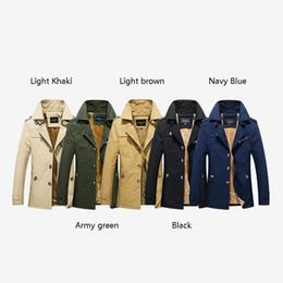 Tranchée en cachemire pour hommes en Ligne-2019 hiver veste décontractée pour hommes dans le long manteau M-5XL 5color de trench-coat en coton épaissi de coton épais