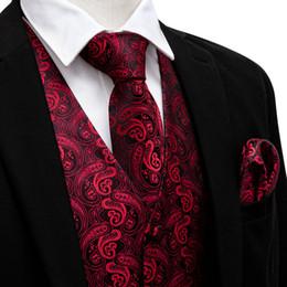 2019 chalecos de seda Hi-Tie Men's C New Style Paisley Jacquard Silk Waistcoat Vest Pañuelo Gemelos Party Wedding Tie Vest Suit Set para boda chalecos de seda baratos