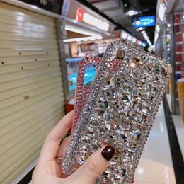 Iphone fait à la main en Ligne-Fait à la main De Luxe Bling Rhinestone Cristal Strass PC Couverture Arrière Diamant Case Pour iPhone 6 6S 7 8 Plus iPhone X / Xs Max Xr