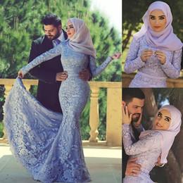 Requintado sereia noite vestidos de comprimento on-line-Dubai muçulmana sereia Vestidos lindo Árabe alta Long Neck Sleeve Mermaid Sexy festa formal Prom Dress Vestidos Vestidos Exquisite