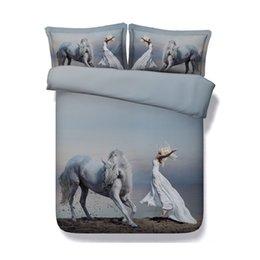 Duvetsets für mädchen online-Ozean Tagesdecke Tagesdecke Pferd Bettwäsche Sets Galaxy 3 Stücke Bettbezug Mit 2 Kissen Shams Floral Blumen Bettdecke Frauen Mädchen Bettbezug