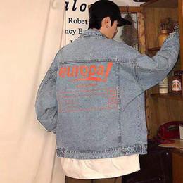 Casacos de denim laranja on-line-2020 Laranja Letter Printing Azul Denim shirt Jacket Único Breasted Casual casacos de moda Casacos homens casal mulheres Jackets HFHLJK047