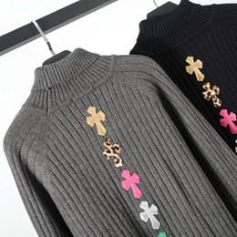 Suéter azul de cuello alto para hombre online-18fw Suéter de cremallera irregular de diseño de lujo Suéter de cuello alto de cuello alto de gran tamaño Patrón cruzado Hombres Mujeres Suéter azul Hfwpwy105