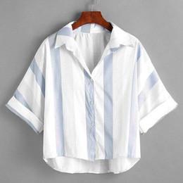 2019 полосатая рубашка с коротким рукавом Женский воротник в полоску с отложным воротником Женская хлопковая льняная рубашка с короткими рукавами в полоску с короткими рукавами для летних девушек дешево полосатая рубашка с коротким рукавом