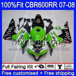 2019 kit di velluto yamaha r1 viola Kit di iniezione per HONDA CBR 600RR 600F5 CBR 600 RR F5 07 08 283HM.0 CBR600F5 CBR600RR 07 08 CBR600 RR 2007 2008 Carene Repsol verde nero