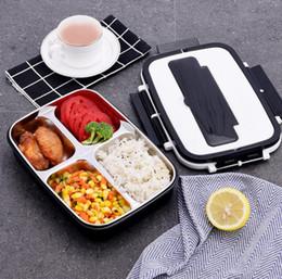 2019 japão saco de plástico Portátil Lunch Bento Student Box Food 4-compartimento 3 grades Lancheira térmica para almoço Aço inoxidável Food 304 Box For Kids SN3595