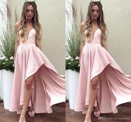 Вечерняя одежда для девочек онлайн-Вечернее платье с глубоким вырезом и розовым коктейльным платьем 2019 Асимметричная юбка Платья с открытой спиной Вечерняя одежда Вечеринка для особых случаев Девушки