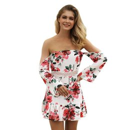 8aec6ad71f1a5 Printed cropped sleeves off-the-shoulder dress Seaside casual vacation  skirts Europe and the new fashion popular wild temperament