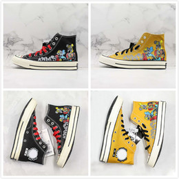 Zapatillas pintadas online-2019 Companion pintado a mano x Convase Chuck Star 1970 HI Zapatos de lona altos Zapatos de skate de diseño cómodos Zapatillas de deporte de moda
