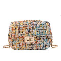 sacchetto di tracolla piccolo tessuto Sconti Moda Piccola borsa a spalla delle signore delle donne retro del ribattino borsa e borsa in tessuto a quadri Messenger Crossbody Borse per le donne # Z25