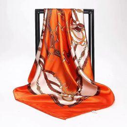 2019 robes en dentelle vert citron Été Femmes Écharpe Soie Imprimé Foulard Satin Foulards Carré Femmes Designer De Luxe Châles 90 * 90 cm Bandana Grand Musulman Hijab JHG051