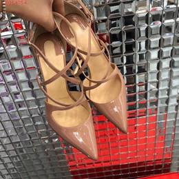 zapatos al por mayor para la boda Rebajas Zapatos de tacones altos de novia personalizados al por mayor-moda simple fiesta de graduación fondo rojo bombas 2018 sexy Negro desnudo rojo boda zapatos individuales de 10cm