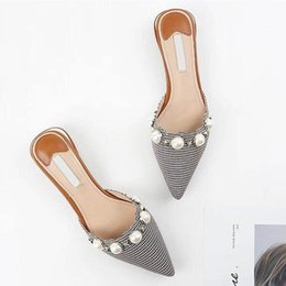 ladies wedding slippers Coupons - New Women Designer Flat Shoes Pointed Toe Leather Sandals Shoes Ladies Luxury Fashion Wedding Slides Sandals With Pearls