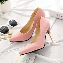 Scarpe tacco a colore rosa online-Unique2019 Temperamento Exceed Autumn Ol Single Asakuchi Sharp High-heeled Fine Pink Colour High Con Women's Shoes Generation