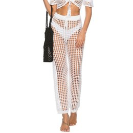 Вязать сексуальные брюки онлайн-Bikini Cover Up Adjustable Belt Summer Beach Crochet Knitted Long Trousers Loose Drawstring Sexy Wide Leg Women Pants Clubwear