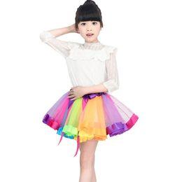 2019 chicas arco iris tutu pettiskirt Nueva falda de tutú Faldas de niña 3M-8T Princesa Mini Pettiskirt Party Dance Rainbow Faldas de tul Ropa de niñas Ropa de niños chicas arco iris tutu pettiskirt baratos