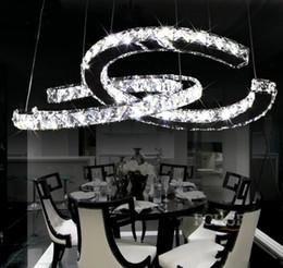 Luces de montaje empotrado led online-Araña de cristal de lujo LED doble C Dos lámparas de C Circels Lámparas de luz Iluminación de cristal LED Colgante apropiado para el comedor