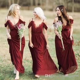 vestidos de dama de honra vermelho boêmio Desconto Boêmio país vermelho escuro chiffon da dama de honra vestidos sexy espaguete renda convidado vestido de casamento simples barato ocasião especial dress