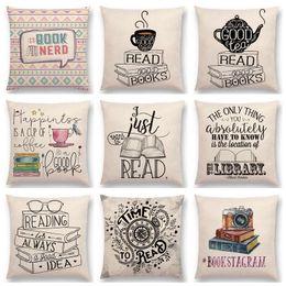 Almohadas hermosas online-Venta caliente Happy Days Nice Tea Reading Buenos libros Beautiful Life Gorgeous Words Letras decorativas Cojín Decoración Sofá Throw Pillow