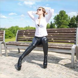 Leggings serpientes online-Las mujeres de cintura alta Leggings Faux Leather Negro brillante Leggings satinado PU Serpiente impresión pantalones pantalones lápiz 6 colores