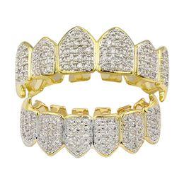 Зубы клыка онлайн-2019 новый хип-хоп хип-хоп золотые брекеты клыки горячий стиль микро набор золотые зубы украшения розничная и оптовая торговля