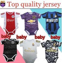 Camisas para bebés online-2019 2020 ajax 6-18 meses camiseta de bebé PELIGRO Real Madrid Maillot de foot 18 19 20 MBAPPE Pogba utd baby Traje de gateo