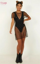 swimwear puro Sconti Sheer Sexy Bikini Cover Up Beachwear paillettes Sparky Mesh Dress See Through Stelle Bathing Suit Swimwear Swimsuit