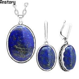 Lapis lazuli oval on-line-et colar brinco Oval Natural Lapis Lazuli Jóias conjunto de colar brincos para o casamento cadeia do aço inoxidável prateado Mulheres Antique ...