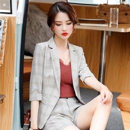 professional clothing style Coupons - New Fashion Plaid Half Sleeve Blazers Jackets Coat For Women Business Work Wear Uniform Styles Professional Clothes Tops Blaser