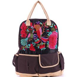 Canada Mode Vintage Boho brodé toile sac à dos dame ethnique occasionnels sacs à dos de voyage sac à dos sac à bandoulière sac à bandoulière adolescent cheap ethnic embroidered shoulder bags Offre